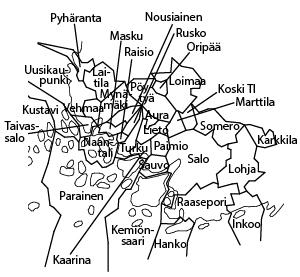 aluekartta Lounais-Suomi